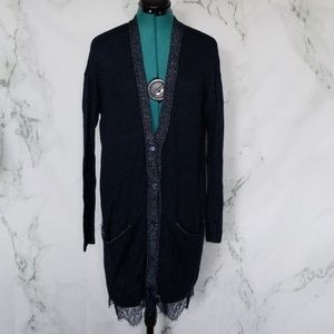 Lauren Conrad long Navy cardigan sweater size S